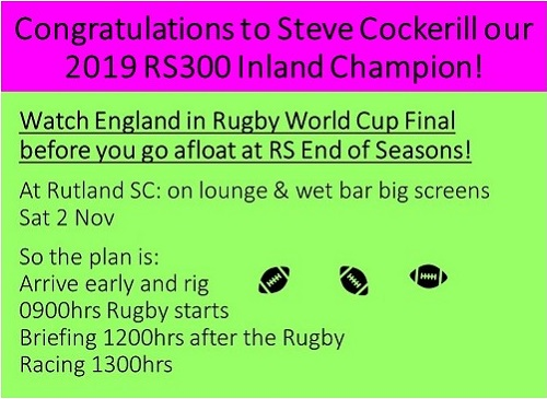More information on Congratulations to Steve Cockerill RS300 Inland Champion 2019